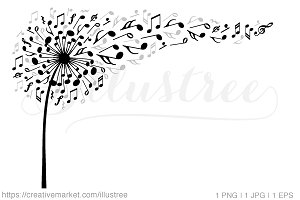 Music dandelion, vector