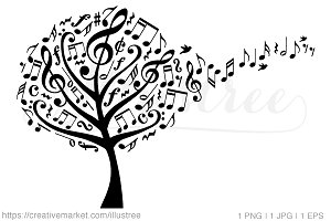 Music tree with flying notes, vector