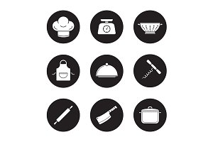 Kitchenware. 9 icons. Vector