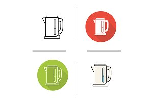 Electric kettle. 4 icons. Vector