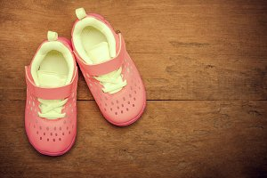 Cute pink baby girl sneakers
