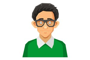 Cartoon Style Portrait of Nerd