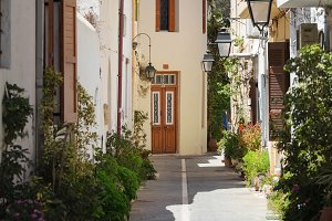 Narrow street of old town Rethymno, Crete Island, Greece