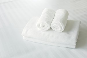 Freshly laundered fluffy towels