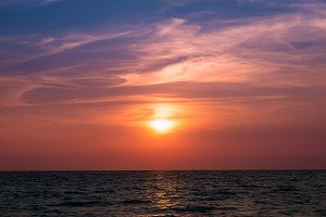 Sunset over sea of Thailand