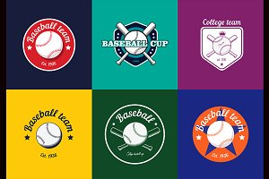 Vintage baseball logos and badges.