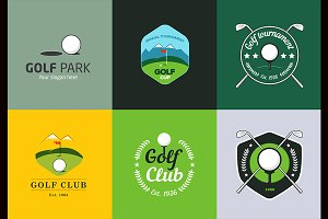 Vintage color golf logos and badges.
