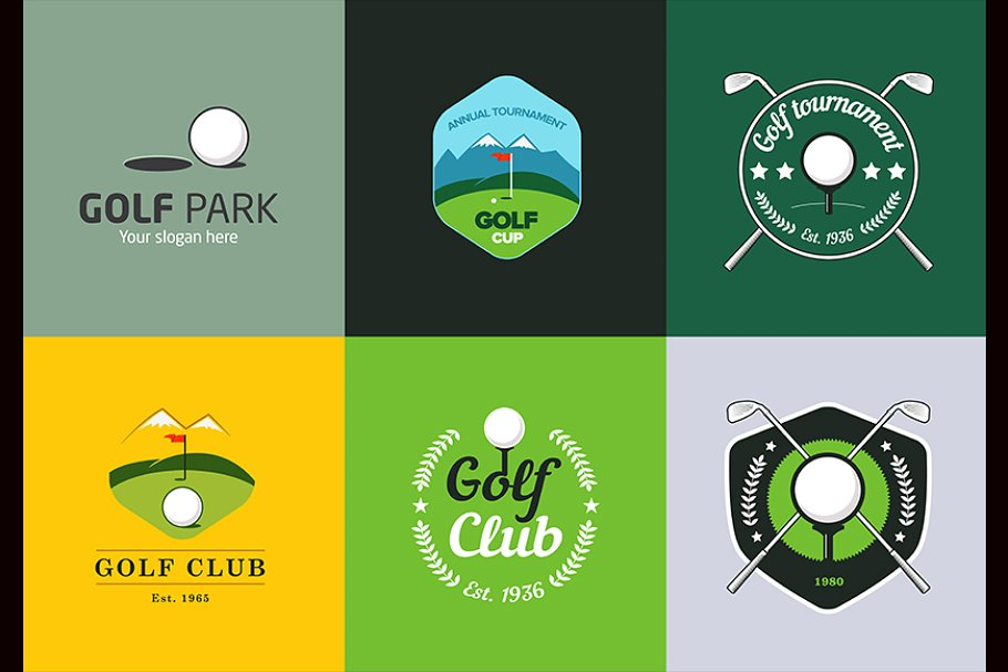 Vintage Color Golf Logos And Badges Creative Daddy
