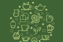 Green tea outline icons in circle