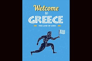 Greece runner with flag poster.