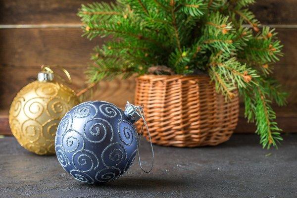 Christmas toys. Colorful balls