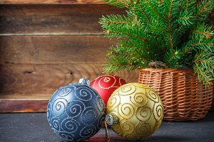 Christmas toys. Colorful balls