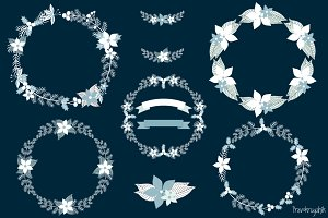 White Christmas wreaths clipart set