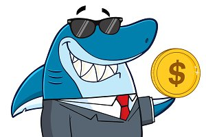 Business Shark Mascot Character