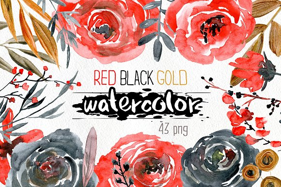 Watercolor red black gold flowers