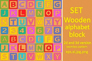 set alphabet wooden block