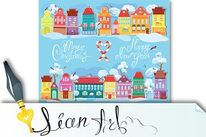 Christmas and New Year holidays card