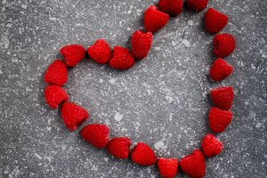 Raspberries in a heart shape
