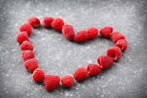 Raspberries in a heart shape