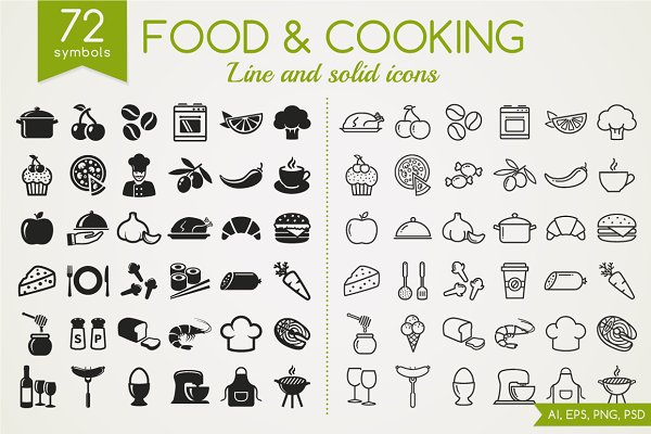 Food & Cooking line and solid icons