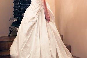 bride wearing white wedding dress