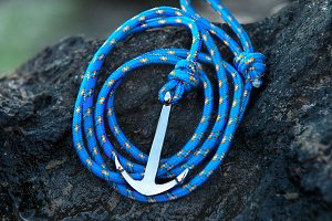 Colorful silver anchor braclet