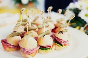 Canapes on restaurant table