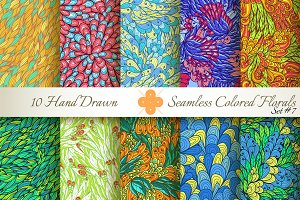 10 Colored Seamless Florals. Set #7