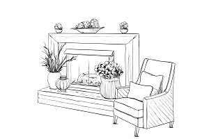 Interior sketch with fireplace