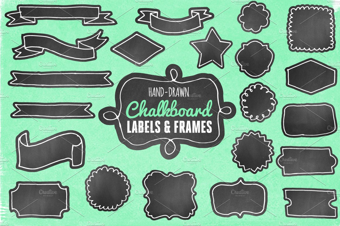 hand-drawn chalkboard labels/frames ~ graphic objects ~ creative market