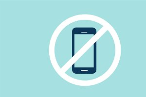 No cell phone sign vector blue