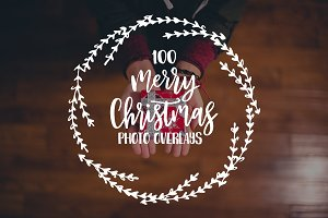100 Christmas photo overlays