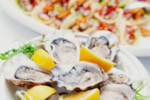 Fresh oysters and another dishes