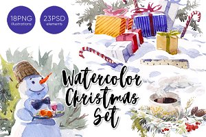 Christmas and New Year watercolors