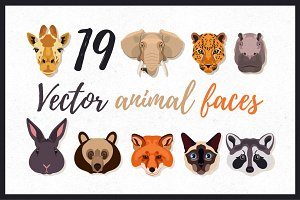19 Vector Animal Faces.