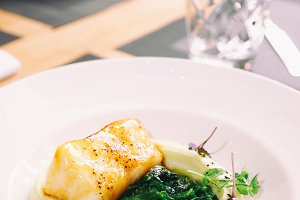Fried seabass fillet