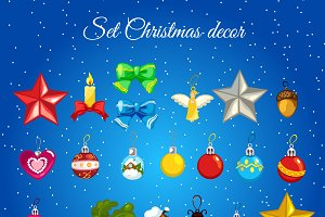 Set of Christmas tree decorations