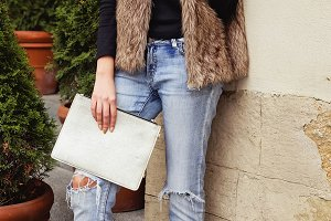 Fashionista with clutch