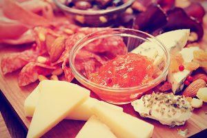 Cheese and sausage platter