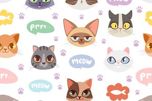 Seamless hipster cats pattern