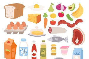Everyday food vector icons