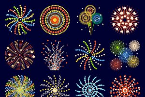 Festive patterned firework vector