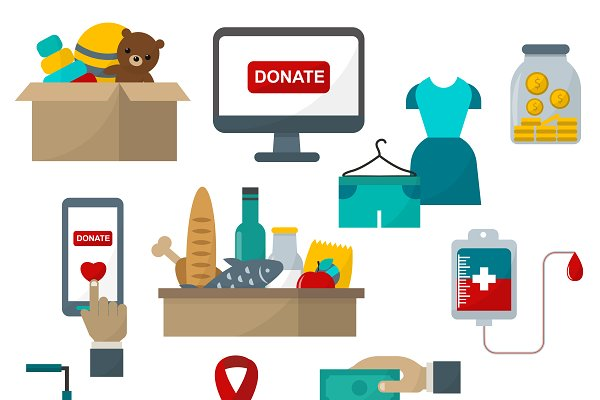 Donate help symbols charity vector