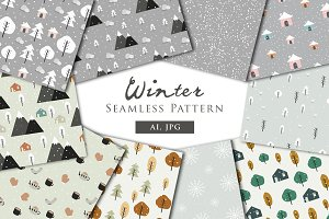 Winter - Seamless Patterns