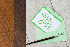 3 in 1 Envelope on wooden background