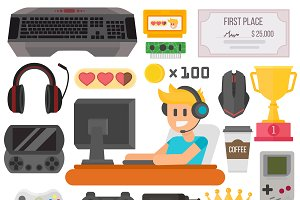 Flat design kiber gaming vector set