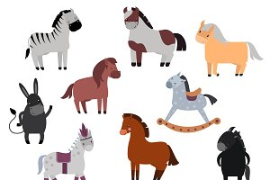 Smiling cartoon horses vector set