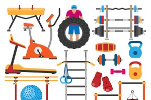 Sport gym vector equipment