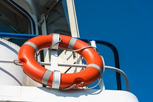 Bright orange lifebuoy