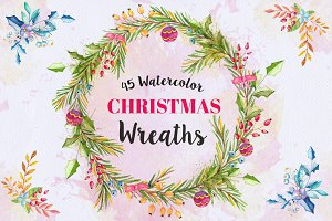 Watercolor Christmas Wreaths  Bundle